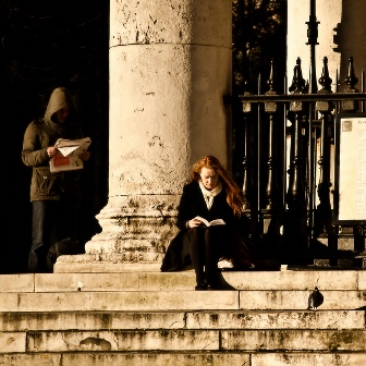 Reading on steps
